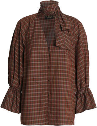 Petersyn Pussy-bow Checked Cotton-poplin Blouse