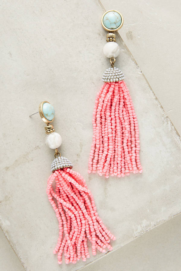 BaubleBar Pink Tassel Drop Earrings