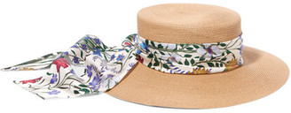 Floral-print Silk Satin-trimmed Woven Paper Hat - Sand
