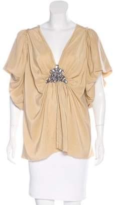 Lanvin Crystal-Embellished Silk Top