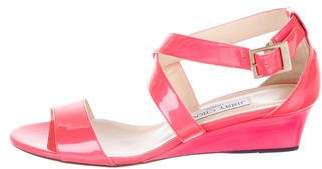 Jimmy Choo patent Leather Ankle-Strap Wedges