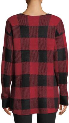 Central Park West Buffalo Check V-Neck Sweater