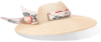 Maison Michel Virginia Printed Silk-trimmed Straw Hat - Cream