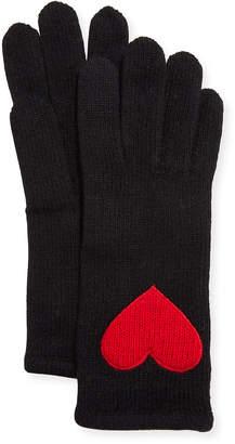 Portolano Cashmere Heart Patch Jersey Gloves