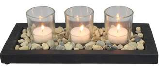 Mainstays Stone Tea Light Candle Garden with 3 Glass Tea Light Candle Holders