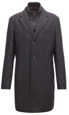 BOSS Hugo Slim-fit wool-blend coat detachable inner bib 38R Dark Grey