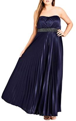 City Chic Helena Embellished Strapless Maxi Dress