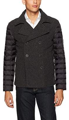 Armani Exchange A|X Men's Wool Front Peacoat with Quilted Nylon Sleeves