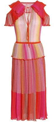 M Missoni Cutout Ruffled Metallic Striped Crochet-Knit Midi Dress