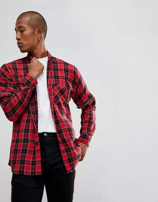 Asos Design DESIGN oversized check shirt with zip sleeves