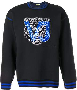 Versace striped rib neck tiger sweatshirt