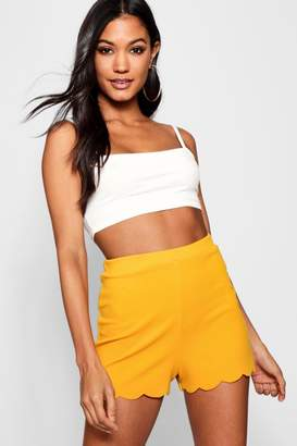 boohoo Helen Scalloped Hem Tailored Shorts