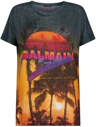 Balmain Linen Printed T-Shirt