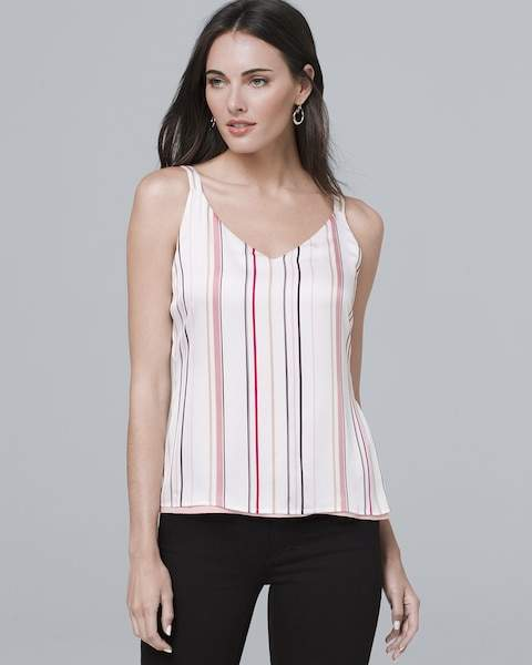 Whbm Reversible Solid/Stripe Woven Cami