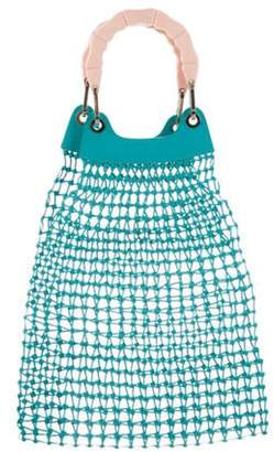 Edie Parker Woven Leather Bag Teal Woven Leather Bag
