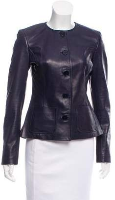 Ralph Lauren Black Label Leather Collarless Jacket
