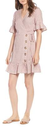 Moon River Gingham Ruffle Sleeve Wrap Dress
