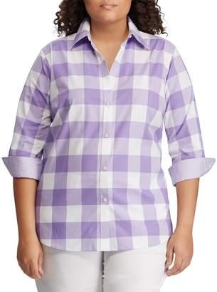 Chaps Plus Straight-Fit No-Iron Cotton Button-Down Shirt