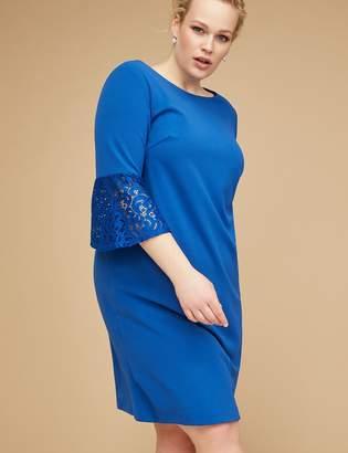 Lace Bell-Sleeve Scuba Sheath Dress