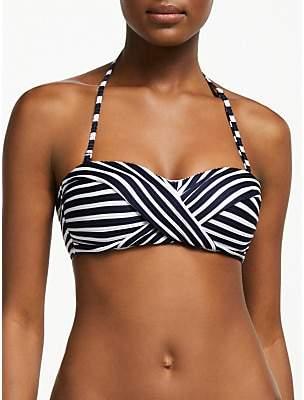 John Lewis & Partners Bandeau Stripe Bikini Top, Navy/White