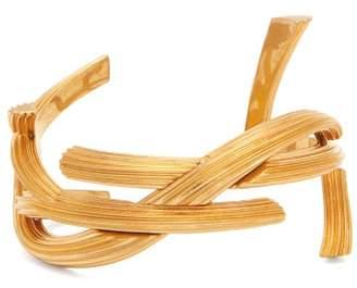 Saint Laurent Abstract Logo Cuff Bracelet - Womens - Gold
