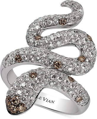 LeVian Le Vian Red Carpet Chocolatier Diamond Snake Ring (1-7/8 ct. t.w.) in 14k White Gold