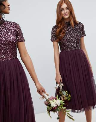 Maya high neck midi tulle dress with tonal delicate sequins in berry