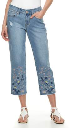 Seven7 Women's Embroidered Straight-Leg Ankle Jeans
