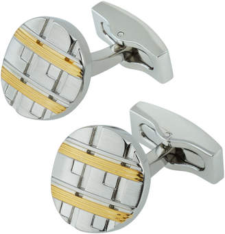 Hickey Freeman Two-Tone Ridged Oval Cuff Links, Silver Multi