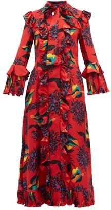 La DoubleJ Floral Print Ruffle Trimmed Silk Midi Dress - Womens - Red Print