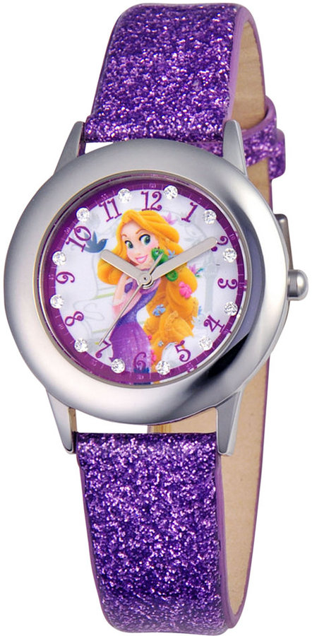 Disney Watch, Kid's Glitz Rapunzel Purple Glitter Leather Strap 31mm W000409
