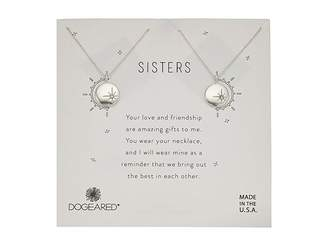 Dogeared Sisters, Small Star Disc with Crystal, Set of 2 Necklaces