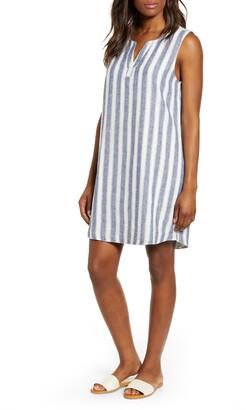 bd789c9433 BeachLunchLounge Jaylene Stripe Sleeveless Linen & Cotton Shift Dress