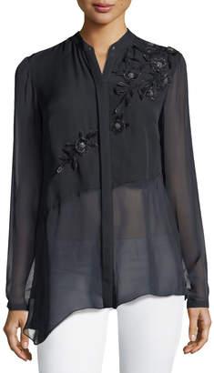Elie Tahari Remeleen Floral-Applique Silk Blouse