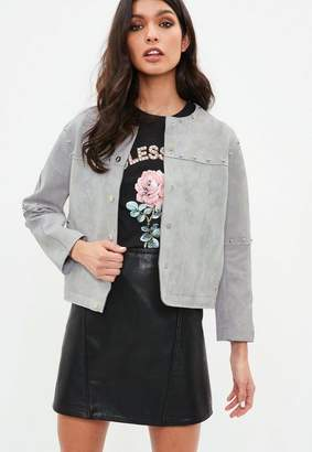 Missguided Grey Studded Collarless Faux Suede Jacket, Grey