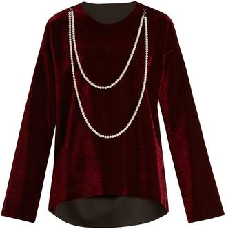 MM6 MAISON MARGIELA Faux pearl-embellished tie-waist velvet top