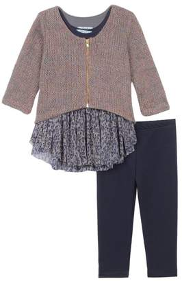 Pippa & Julie Knit Zip Sweater, Tank Top, & Leggings 3-Piece Set (Baby Girls)