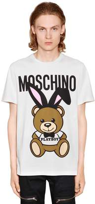 Moschino Playboy Teddy Bear Print Jersey T-Shirt