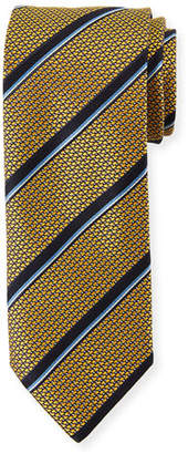 Canali Satin Jacquard Striped Silk Tie, Yellow