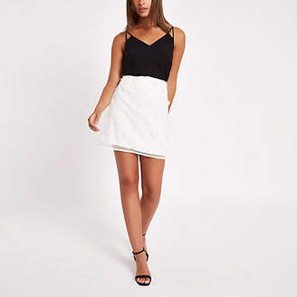 River Island Womens White flower embellished mini skirt