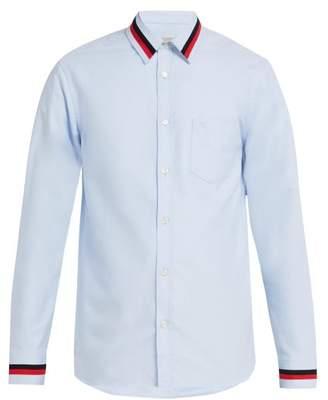 Burberry Knit Trim Cotton Shirt - Mens - Blue
