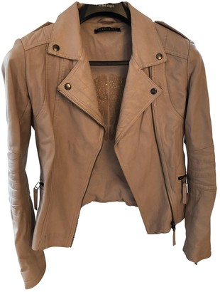 Berenice Pink Leather Leather Jacket for Women