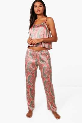 boohoo Julia Paisley Cami & Trouser Set