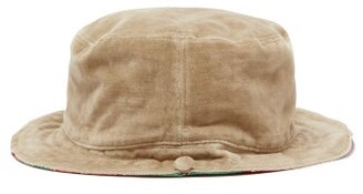Gucci Reversible Silk Twill & Velvet Bucket Hat - Womens - Beige