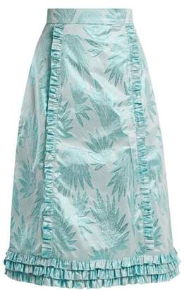 The Vampire's Wife - Cate Leaf Jacquard Ruffle Trimmed Skirt - Womens - Blue Print