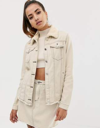 Missguided co-ord denim jacket with borg collar and contrast stitch in ecru