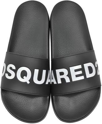DSQUARED2 Black Signture Women's Flip Flop Pool Sandals