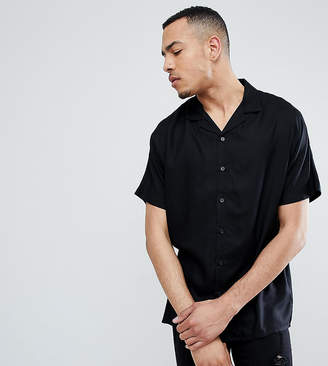 Asos Design DESIGN Tall oversized viscose batwing sleeve shirt in black