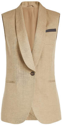 Brunello Cucinelli Cotton-Linen Vest with Embellishment