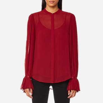 Karl Lagerfeld Women's Pleated Sleeve Blouse